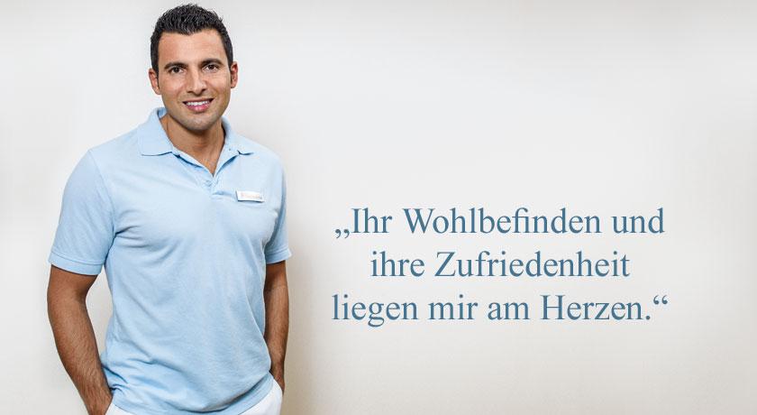 """""""Ihr Wohlbefinden und ihre Zufriedenheit liegen mir am Herzen."""" Zahnarzt Dr. Mustafa Dere aus Aarau. Foto © Jean-Jacques Ruchti"""